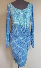 Hale Bob Bodycon Dress Scoop-Neck Long-Sleeve Blue Print Sz. L EUC Rayon Blend