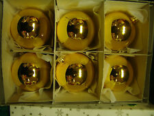VINTAGE JUMBO GOLD GLASS ORNAMENTS WITH ORIGINAL BOX (6) CZECH REPUBLIC