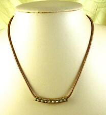 Goldtone Snake Chain with Curved Bar & AB Rhinestones Necklace