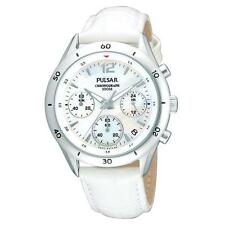 PULSAR DRESS CHRONOGRAPH DATE WHITE MOP DIAL LEATHER WOMEN'S WATCH PT3085 NEW