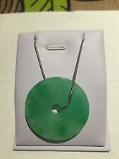 Chinese Style Gift Vintage Green Burma Jade Necklace Sterling Silver (JP48)