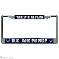 VETERAN AIR FORCE CHROME LICENSE PLATE FRAME MADE IN USA