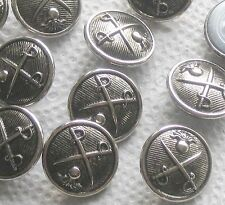 Crossed SWORD Swords and Grenade Set 12 Vintage New Silver Metal picture buttons