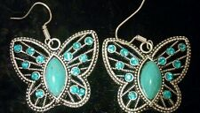 ROYAL BALI BUTTERFLY TURQUOISE/TOPAZ SILVER DANGLE EARRINGS 1 1/2 INCH DANGLE