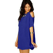 Womens Plus Size Chiffon Baggy Shirts Tops Blouse Dress Lace Off Shoulder Outfit
