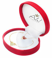 GIFTBOXED! Women's Gold Over Sterling Silver Heart Bracelet And Necklace Set.