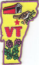 """VT"" VERMONT STATE SHAPE - Iron On Embroidered Applique Patch/New England"