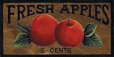 "4.5x10""  Country Primitive wood FRESH APPLES kitchen apple collector decor sign"
