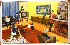 Stampa antica grande SOGGIORNO SALA PRANZO camino cm 65x100 1960 Large Old Print