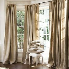 "DRAPE PANEL 2PC SET BACKDROP BURLAP JUTE CURTAIN 7ft 84"" x 60"" NATURAL"