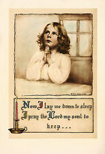 VINTAGE 1923 Motto Print Hand Colored Photogravure NOW I LAY ME DOWN TO SLEEP...