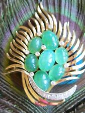 RARE 1960'S TRIFARI JEWELS OF INDIA PEACOCK FEATHER PLUME PIN BROOCH W JADE CABS
