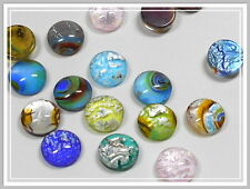10 Lampwork Cabochon mit Silberfolie 12mm Farbmix