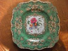 "Wedgwood fancy green hand painted floral scalloped edge 8"" salad plate W2006"