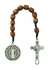 1 Decade St BENEDICT Rosary Medal Crucifix Protection Exorcisms Saint Wood Brown