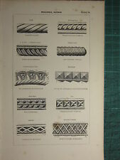 1845 ANTIQUE ARCHITECTURE PRINT ~ MOULDINGS NORMAN LOZENGE NAIL HEAD CABLE