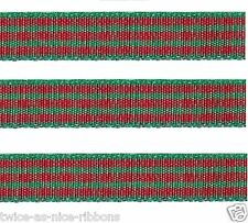"5yds 3/8"" RED GREEN CHRISTMAS Polyester Checkered Check Gingham Ribbon"