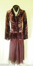 RENATO NUCCI Size 8 Brown Velvet & Lace Ladies Skirt Top & Jacket Wedding Outfit