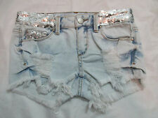 *NEW* LIGHT/WHITE TIE DYE SPECIAL A WOMENS SEQUIN DISTRESSED DENIM SHORTS SZ XS
