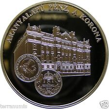 HUNGARY GOLD BASED CURRENCY KORONA SILVER BU MEDAL UNC