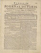 JOURNAL DE PARIS N°274 VENDREDI Ier OCTOBRE 1790 FORMAT 16 x 21 cm