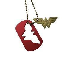 DC Comics Wonder Woman 2 Piece Cut Out Metal Dog Tag Chain Necklace