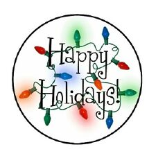 "48 Happy Holidays lights!!!  ENVELOPE SEALS LABELS STICKERS 1.2"" ROUND"