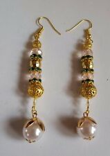 HANDMADE FANCY FAUX PEARL SWAROVSKI CRYSTAL FILLIGREE BALL DROP GOLD EARRINGS
