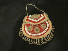 S38 antique vintage native american bead work bag handled purse watch holder