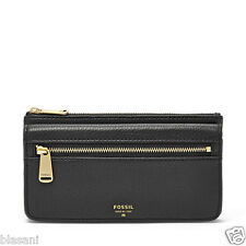 Fossil Original SL5031001 Black Preston Flap Clutch Leather Women's Wallet