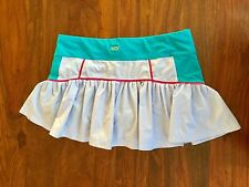NEW LUCY ACTIVEWEAR  M  WORKOUT RUNNING SKIRT SKORT RUFFLE BLUE PINK AQUA TENNIS
