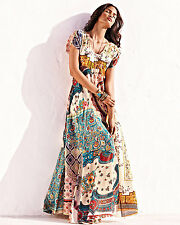 $345 JOHNNY WAS FLORAL 100% SILK MAXI DRESS PATCHWORK NO SLIP SZ 1X NWT