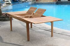 "9 PC TEAK OUTDOOR DINING SET 122"" DOUBLE EXTN RECT TABLE, 8 DEVON ARMLESS CHAIRS"