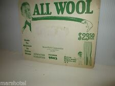 VINTAGE GARMENT INDUSTRY TRADE CARD ALL WOOL STONE-FIELD CORP CHICAGO #9803