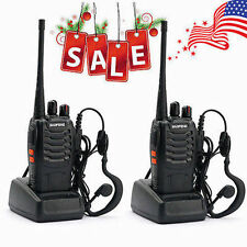 2Walkie Talkie UHF 400-470MHZ 2-Way Radio 16CH 5W BF-888S Long Range&EarphonesL8