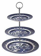 BLUE WILLOW-3 Tier Cake Stand-CHURCHILL CHINA-Made in England-Presentation Boxed