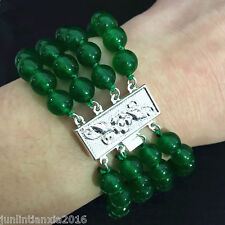 New Malaysia green jade 8mm round bead jasper 4 row sliver plated clasp bracelet