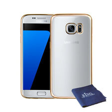 Galaxy S7 Luxury Electroplated TPU Clear Case Gold + Microfiber Cloth