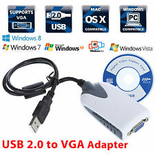 USB 2.0 to VGA Dual Display Adapter Multi Monitor Windows 2000 XP Vista 7/8 Mac