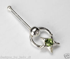 Silver Star Doorknocker With Green Gem Nose Stud Rings