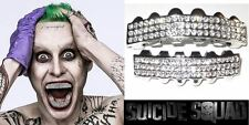 Suicide Squad Joker Halloween Silver Mouth Teeth Deluxe Grillz Set 6 Row Bling