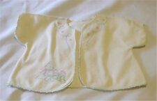 Vintage Embroidered Flannel Diaper Shirt/Top Open- Sweet Teddy & Crochet Trim