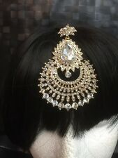 New Bollywood  Gold Tone Tikka Jhoomar Passa Side Passa Scarf Jewel Head Chain