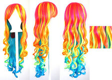 29'' Long Curly w/ Long Bangs Neon Multi-Colored Rainbow Cosplay Wig NEW