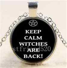 Keep Calm Witches Are Back! Cabochon Glass Tibet Silver Chain Necklace#987