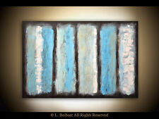 ABSTRACT PAINTING LARGE BLUE ORIGINAL TEXTURED OIL CANVAS WALL ART ~ L. Beiboer