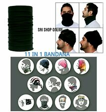 Tube Bandana Bikers Head/Face/Mask/Kneck Multiwear Scarf Unisex (Solid Black)