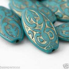 Carved Etched Deep Turquoise Gold Etched Acrylic Oval Beads 39mm (8)