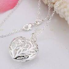 925 STERLING SILVER PLATED KP55 HOLLOW PATTERNED HEART NECKLACE