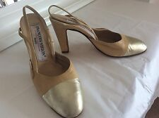 Francois Villon Heel Shoes Beige & Gold 2 Tone leather pumps Sz 38 UK 5 wedding